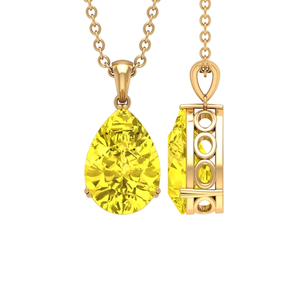 7X10 MM Pear Cut Yellow Sapphire Solitaire Pendant in Double Prong Setting