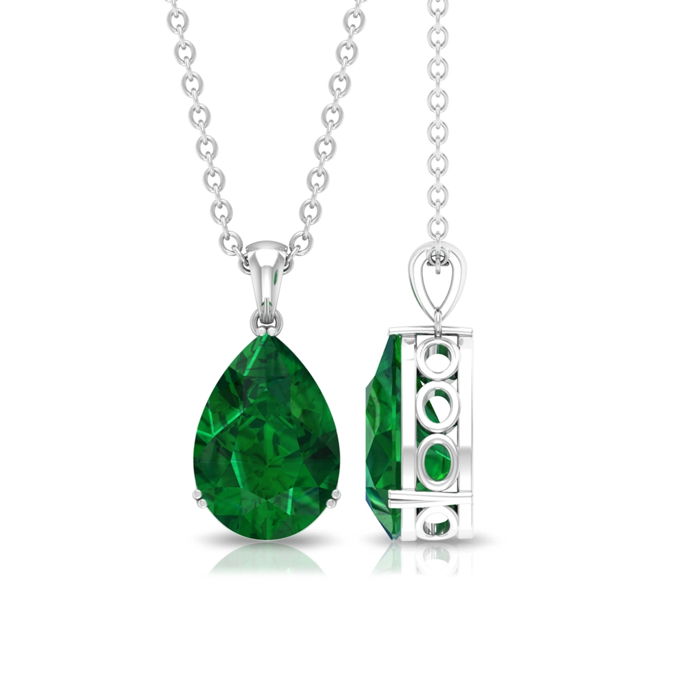 2 CT Pear Cut Emerald Pendant in Double Prong Setting