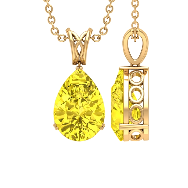7X10 MM Pear Shape Yellow Sapphire Solitaire Pendant in Double Prong Setting with Decorative Bail