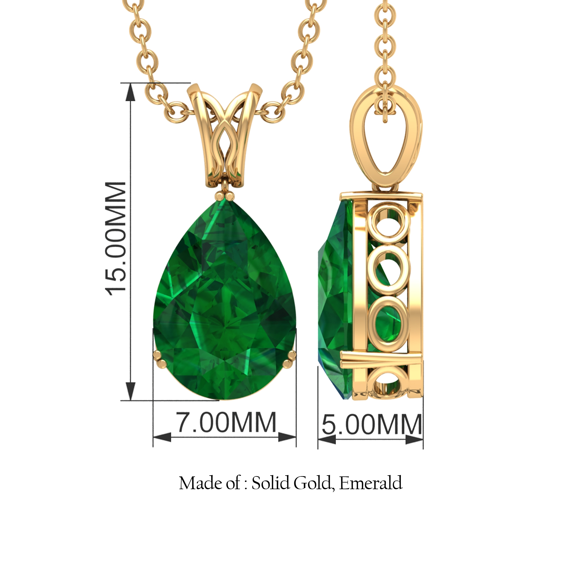 2 CT Pear Cut Emerald Pendant in Double Prong Set with Decorative Bale Design