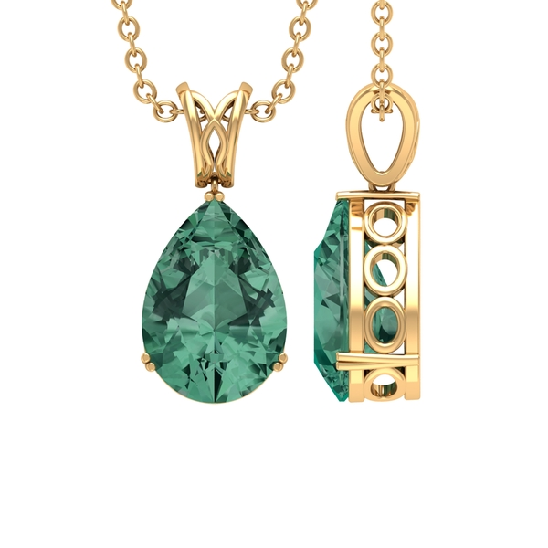 7X10 MM Pear Shape Green Sapphire Solitaire Pendant in Double Prong Setting with Decorative Bail