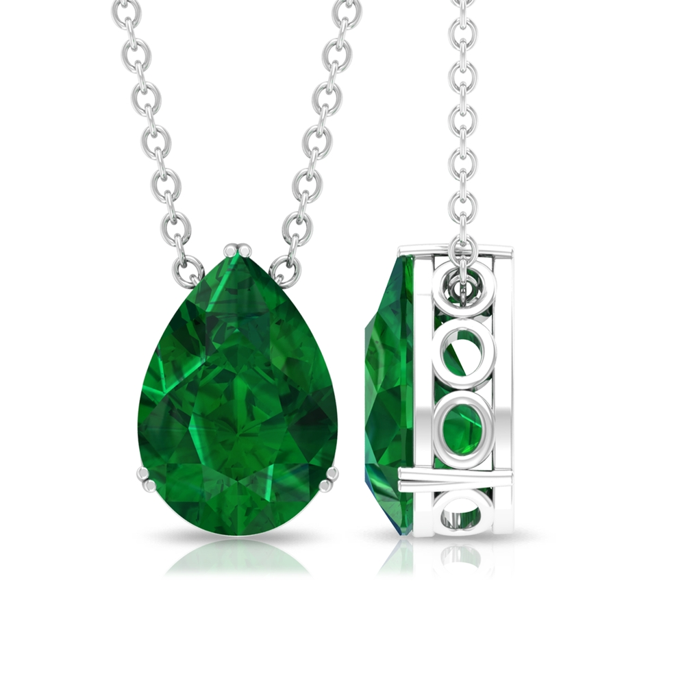 7X10 MM Pear Cut Emerald Solitaire Pendant in Double Prong Setting