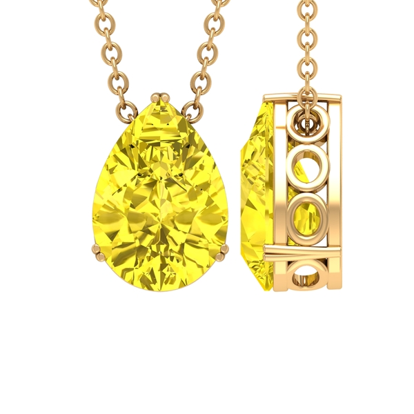 7X10 MM Pear Shape Solitaire Yellow Sapphire Pendant in Double Prong Setting
