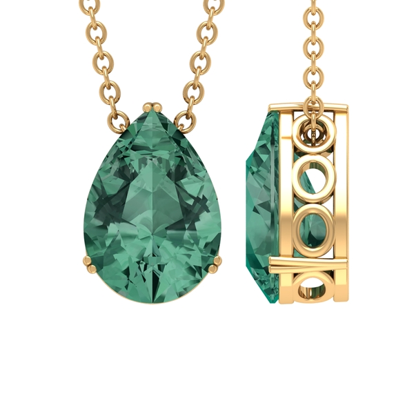 7X10 MM Pear Shape Solitaire Green Sapphire Pendant in Double Prong Setting