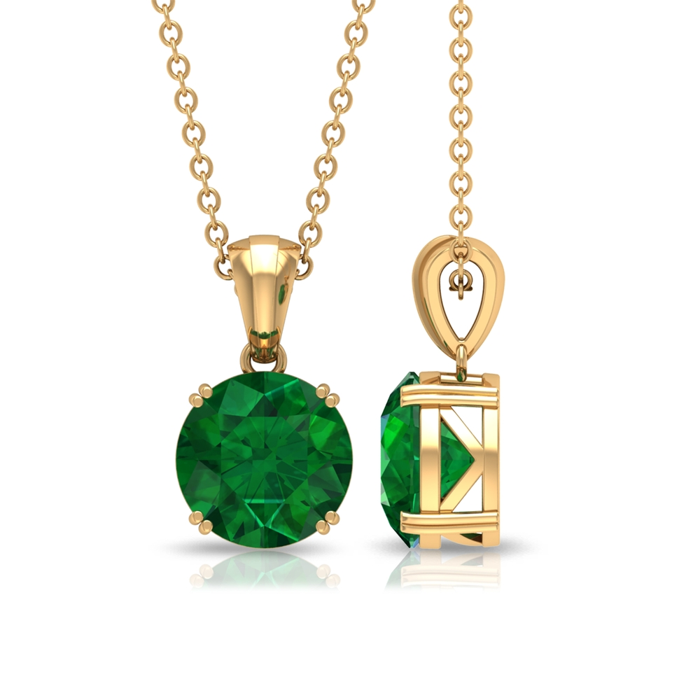 8 MM Round Cut Solitaire Emerald Pendant in Double Prong Setting