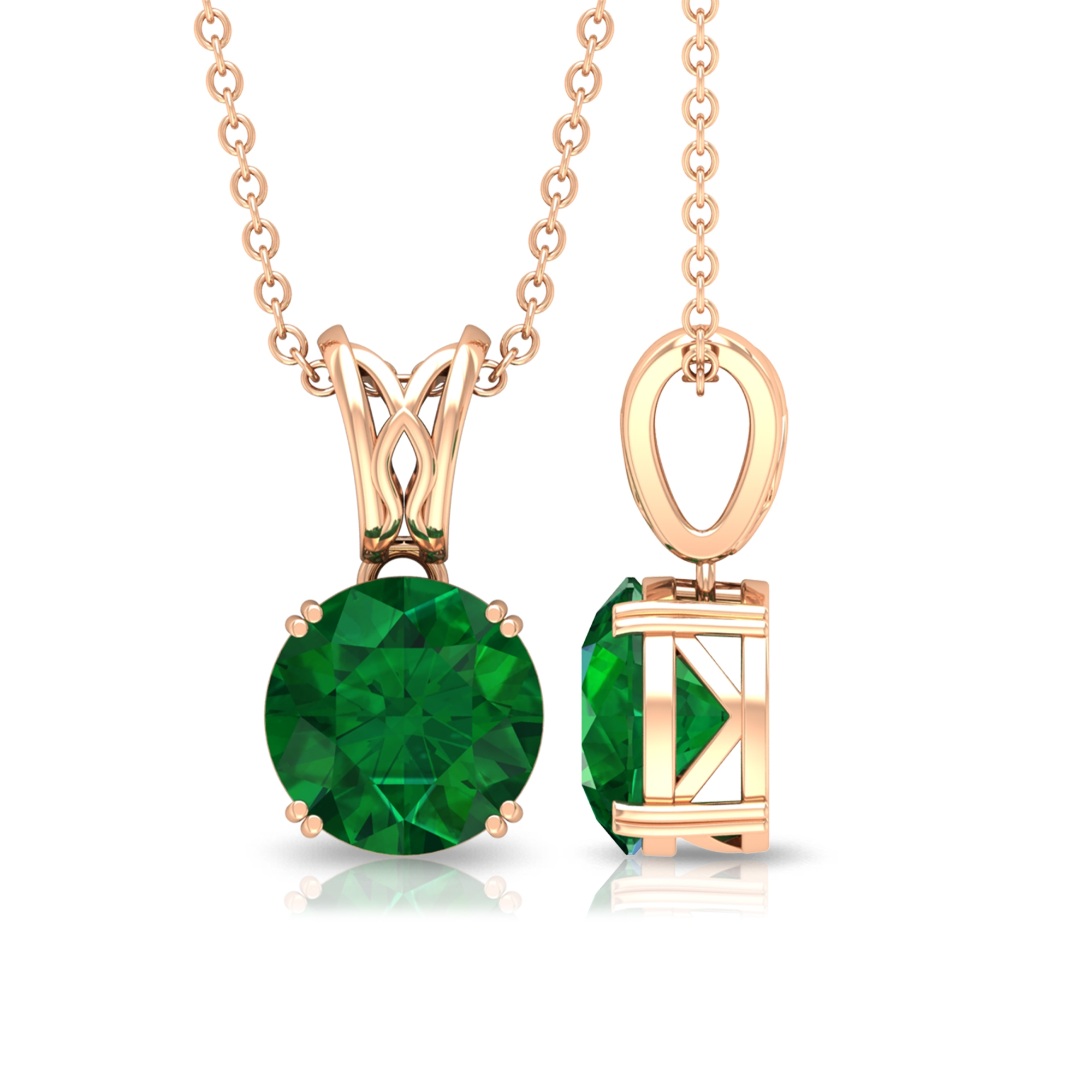 8 MM Round Cut Solitaire Emerald Pendant Necklace in Double Prong Set with Decorative Bale