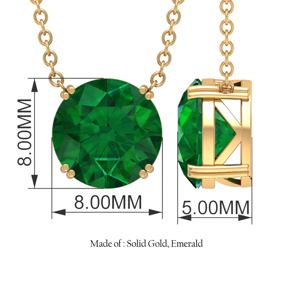 8 MM Round Cut Emerald Solitaire Necklace in Double Prong Setting