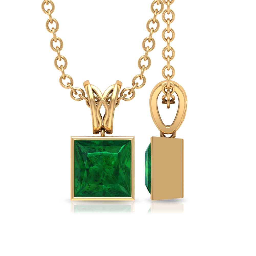 4.5 MM Princess Cut Emerald Solitaire Pendant in Bezel Setting with Rabbit Ear Bale