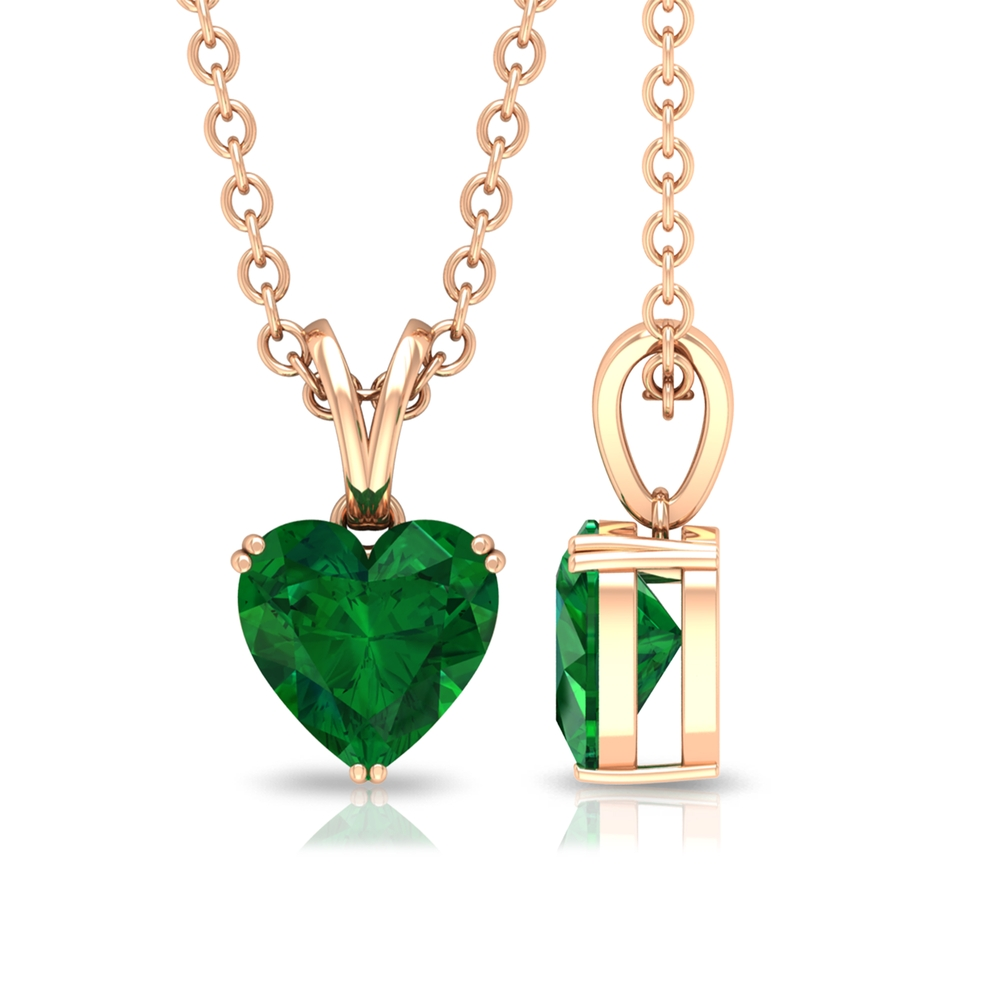 5.4 MM Heart Solitaire Emerald Pendant in Double Prong Set with Rabbit Ear Bale