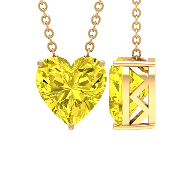 8 MM Heart Shape Solitaire Yellow Sapphire Pendant in 3 Prong Setting