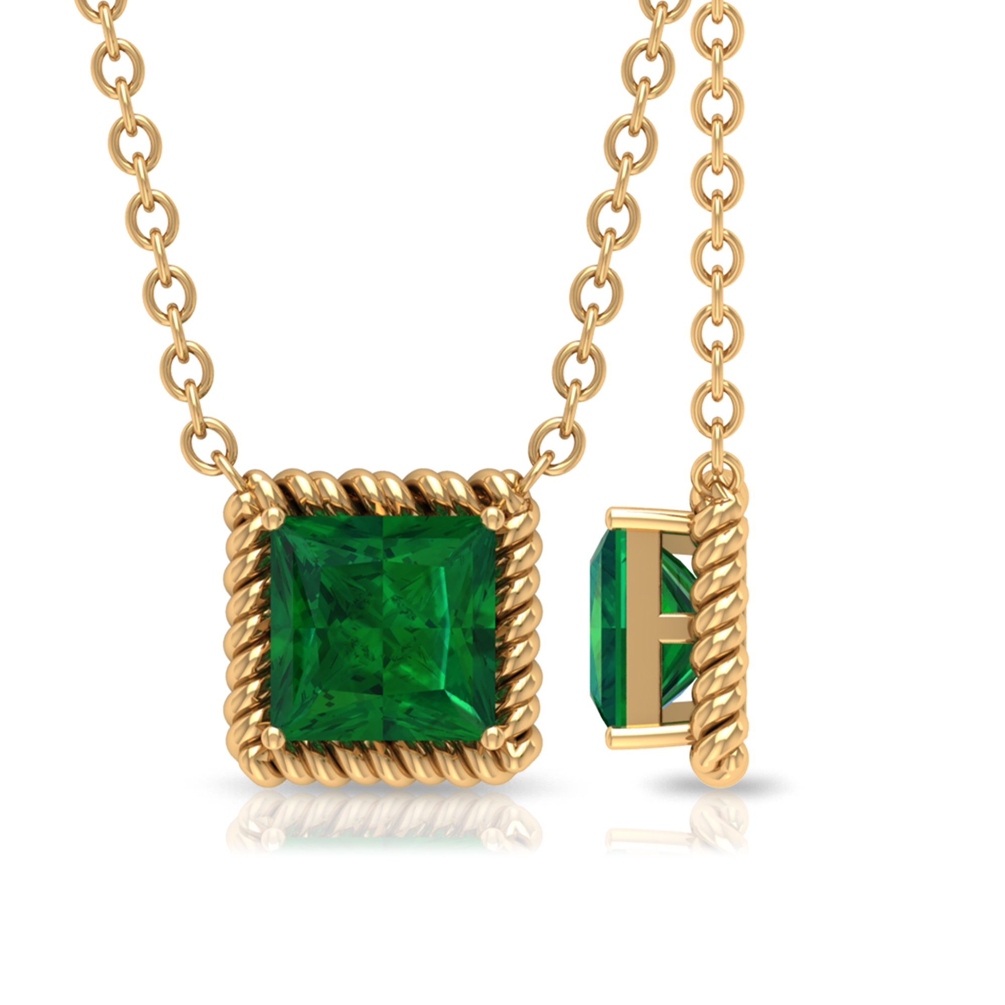 4.50 MM Princess Cut Emerald Solitaire Necklace in Prong Setting with Rope Frame