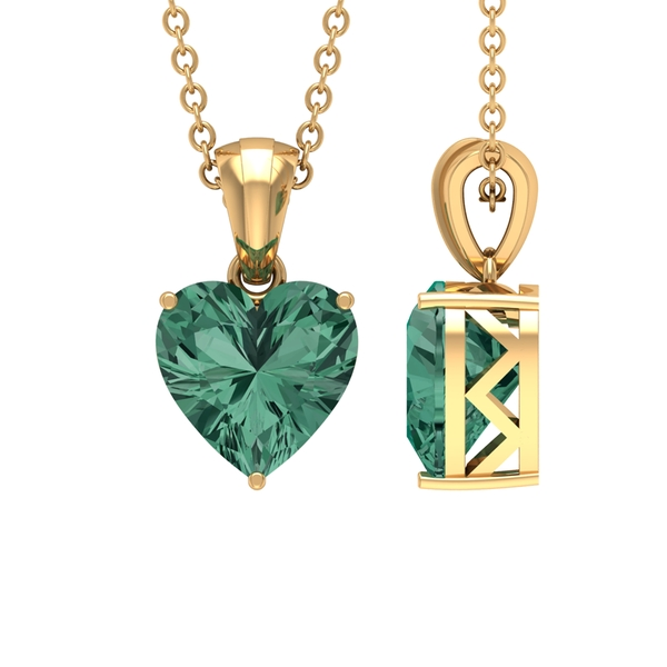 8 MM Heart Shape Green Sapphire Solitaire Pendant For Women in 3 Prong Setting