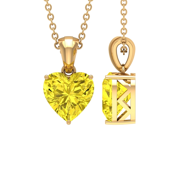 8 MM Heart Shape Yellow Sapphire Solitaire Pendant For Women in 3 Prong Setting