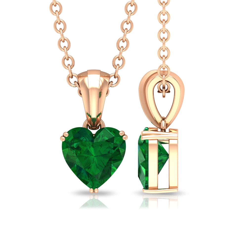 5.40 MM Heart Shape Emerald Solitaire Pendant with Bail in Double Prong Setting