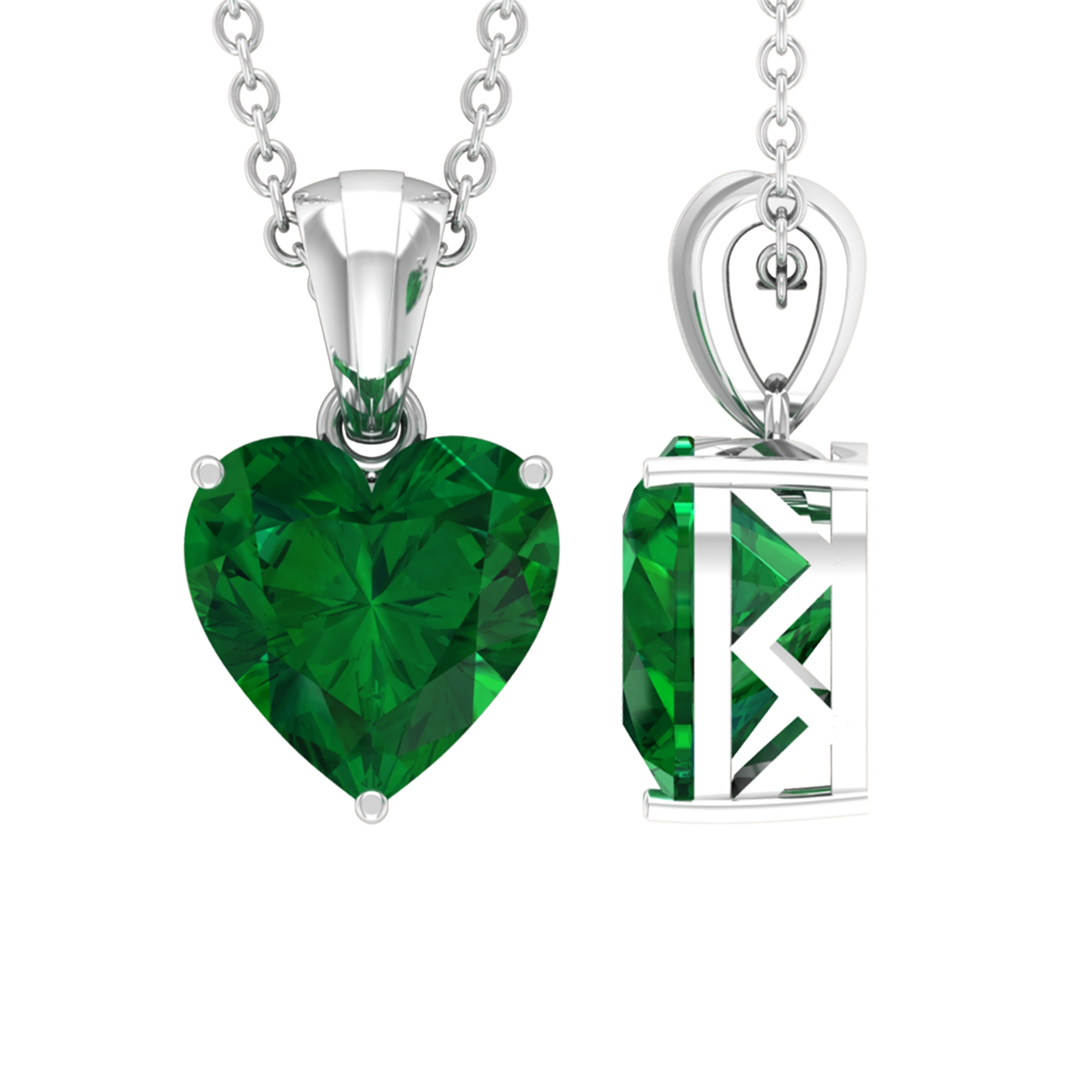8 MM Heart Shape Emerald Solitaire Pendant in 3 Prong Setting