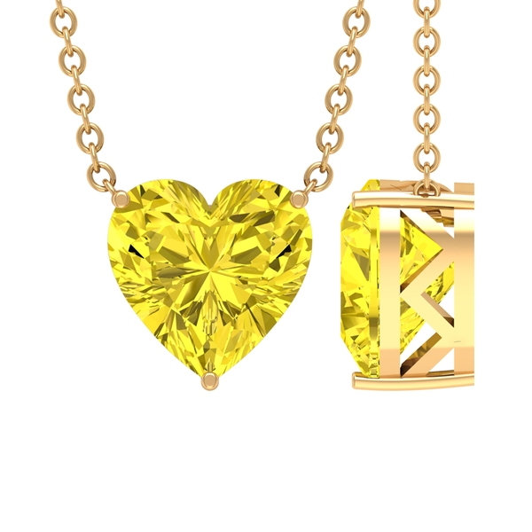8 MM Heart Shape Yellow Sapphire Necklace in 3 Prong Setting