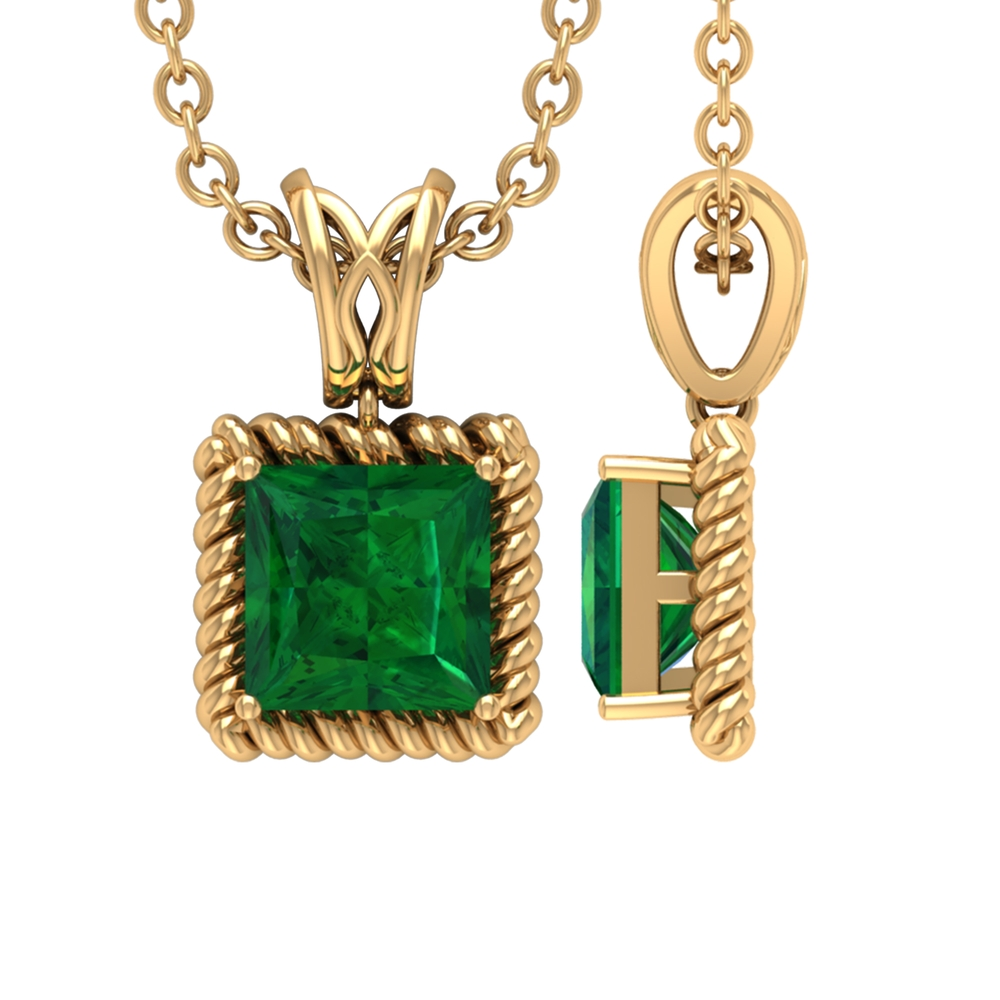 4.50 MM Princess Cut Emerald Solitaire Necklace in Prong Setting with Decorative Bail and Rope Frame