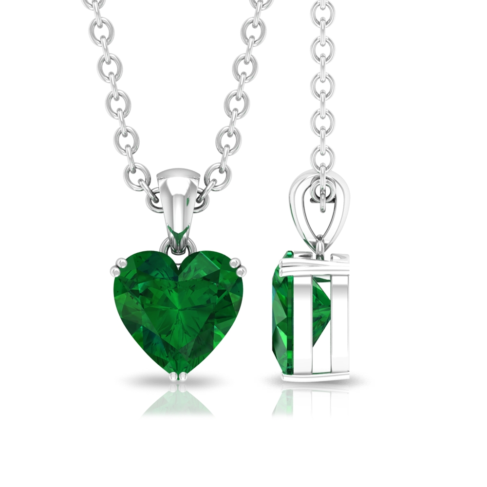 5.40 MM Heart Shape Emerald Solitaire Pendant in Double Prong Setting