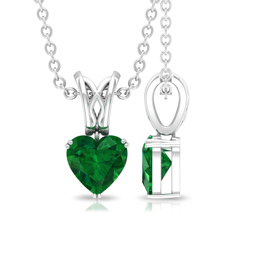 5.40 MM Heart Shape Emerald Solitaire Minimal Pendant in Double Prong Setting with Decorative Bail