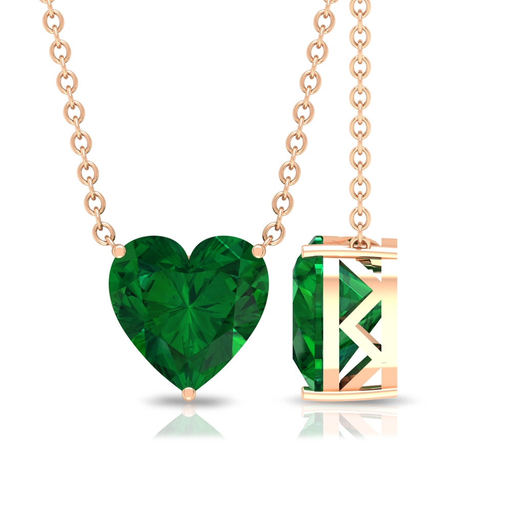 8 MM Heart Shape Emerald Solitaire Necklace in 3 Prong Setting