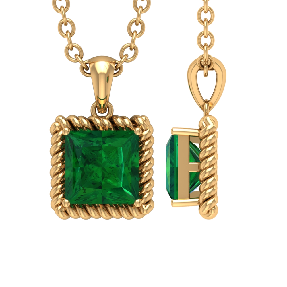 4.50 MM Princess Cut Emerald Solitaire Pendant in Prong Setting with Rope Frame