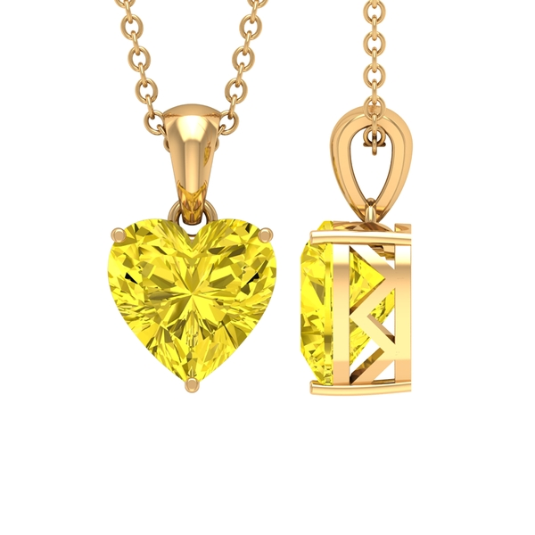 8X8 MM Heart Shape Yellow Sapphire Solitaire Pendant in 3 Prong Setting