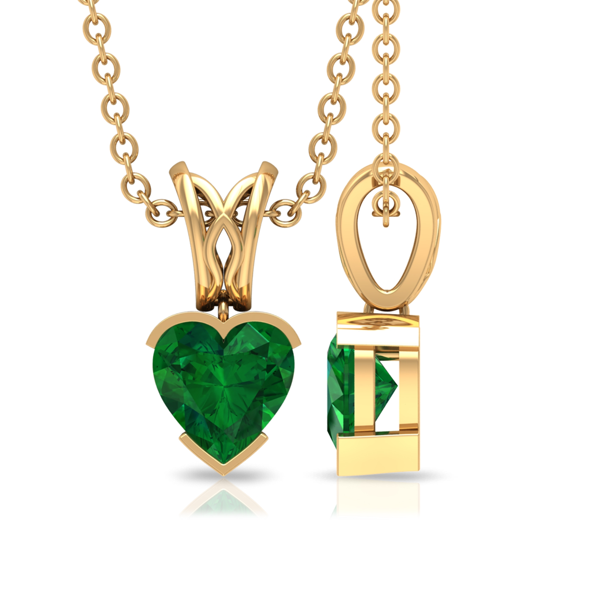 5.40 MM Heart Shape Emerald Solitaire Pendant in Half Bezel Setting with Decorative Bail