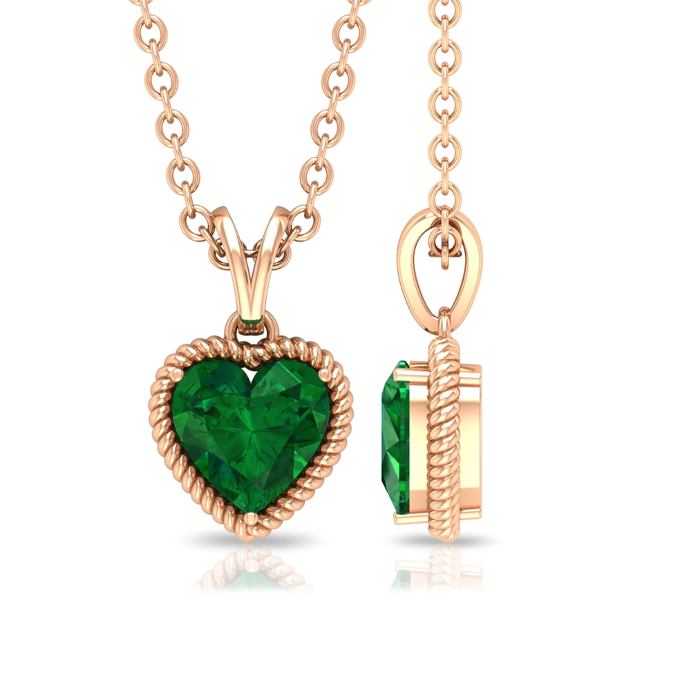 5 MM Heart Shape Emerald Solitaire Pendant in Prong Setting with Rabbit Ear Bail and Rope Frame