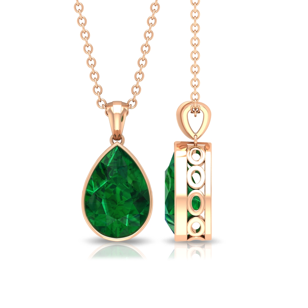 7X10 MM Pear Cut Emerald Solitaire Simple Pendant in Bezel Setting
