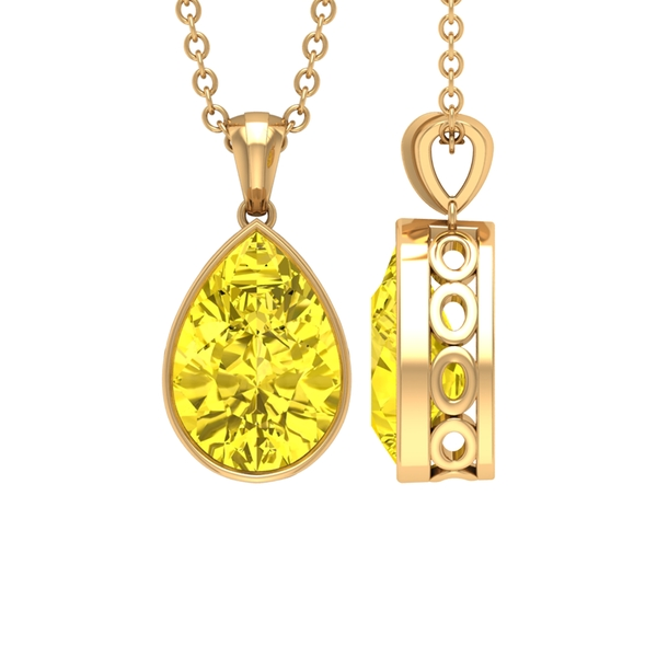 7X10 MM Pear Cut Yellow Sapphire Solitaire Pendant in Bezel Setting