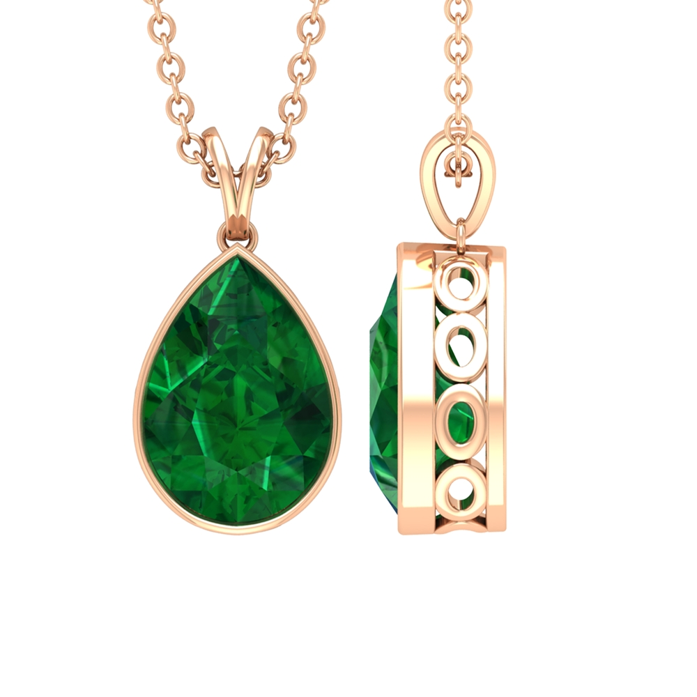 7X10 MM Pear Cut Emerald Solitaire Simple Pendant in Bezel Setting with Rabbit Ear Bail