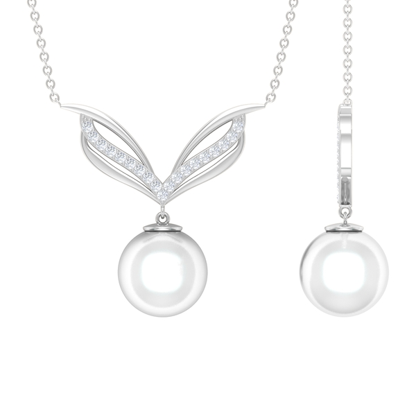 8.25 CT Freshwater Pearl Drop Cocktail Necklace with Diamond Accents