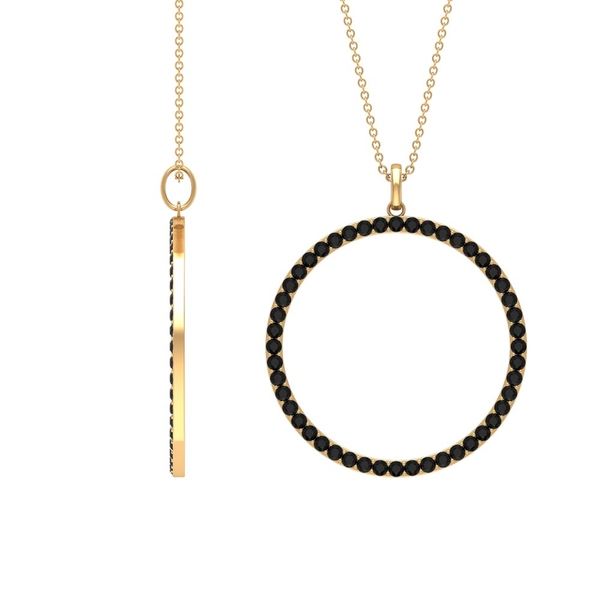 1.50 CT Eternity Pendant Necklace for Women with Black Diamond