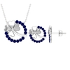 1.75 CT Created Blue Sapphire Eternity Jewelry Set with Gold Clover Leaf