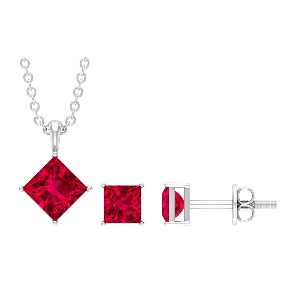 1.25 CT Solitaire Necklace and Earrings Set with Princess Cut Ruby