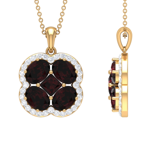 4.75 CT Classic Garnet and Diamond Floral Cluster Necklace