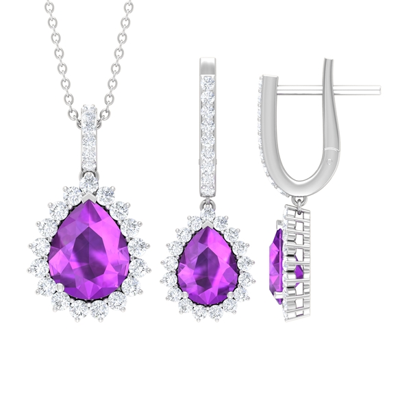 7.50 CT Teardrop Jewelry Set with Created Kunzite Solitaire and Moissanite