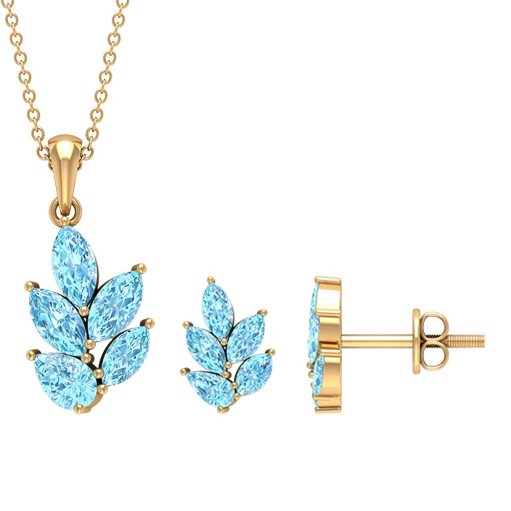 2.75 CT Leaf Jewelry Set with Marquise and Pear Cut Aquamarine