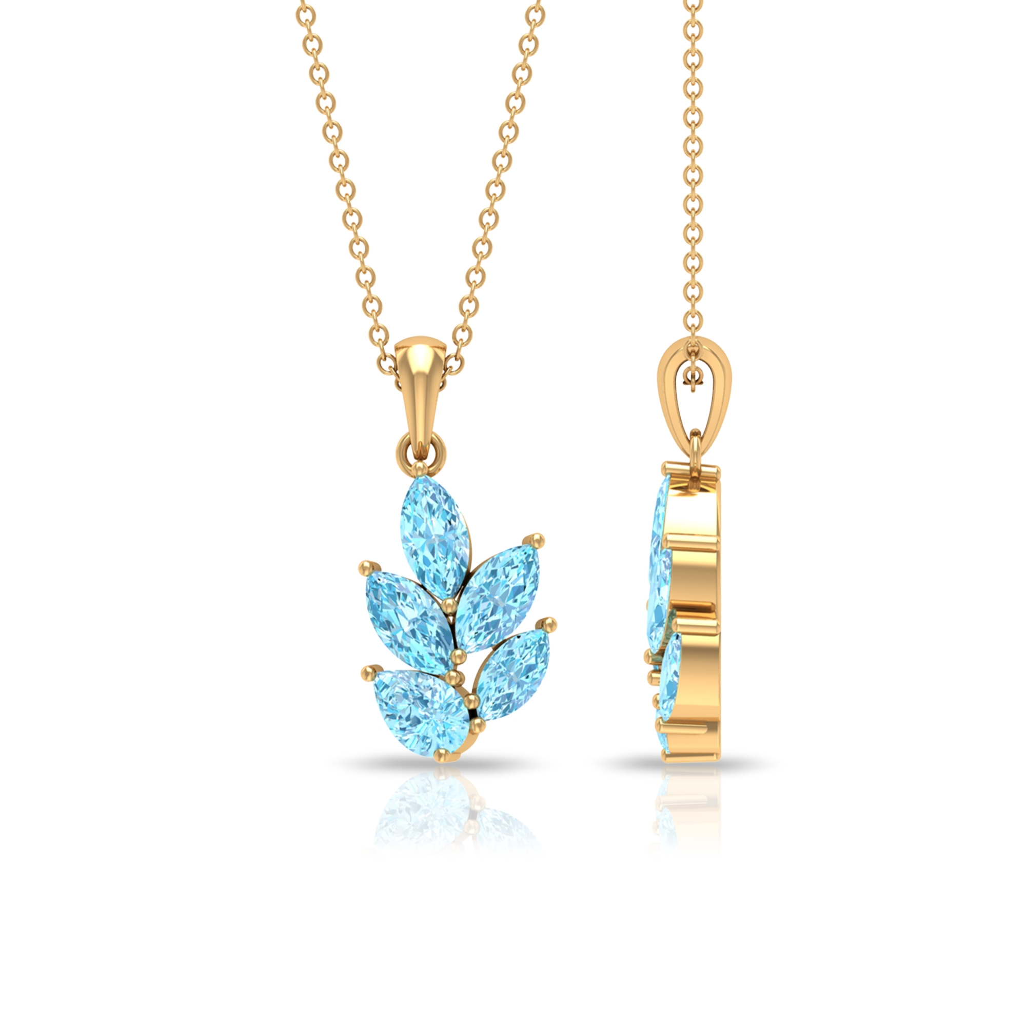 2.25 CT Leaf Pendant Necklace with Marquise and Pear Cut Aquamarine