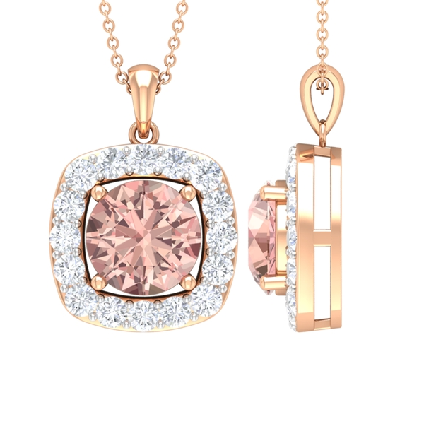 3 CT Classic Morganite and Moissanite Halo Pendant Necklace For Women