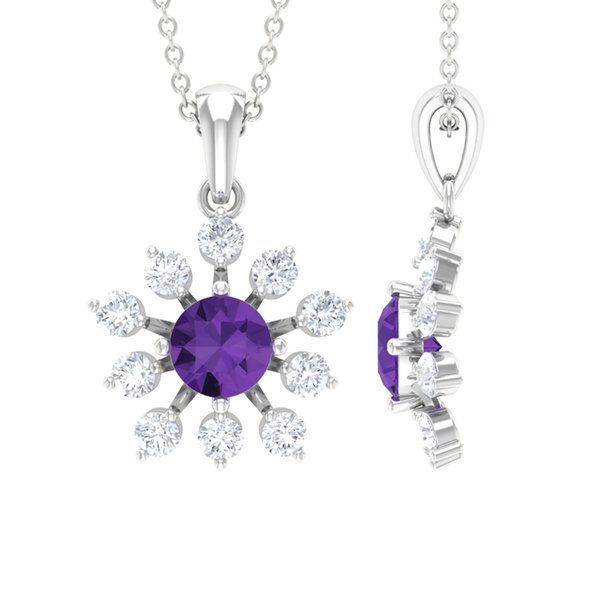 1.50 CT Statement Created Lavender Amethyst and Moissanite Floral Pendant Necklace
