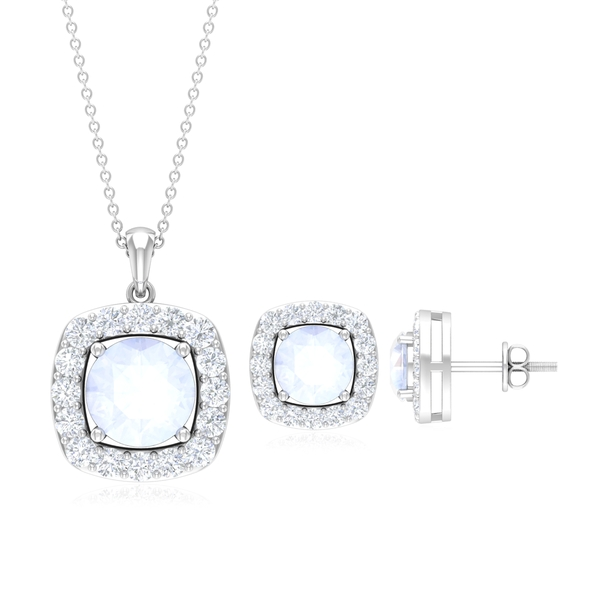 Halo Jewelry Set with 4.50 CT Moonstone and Moissanite