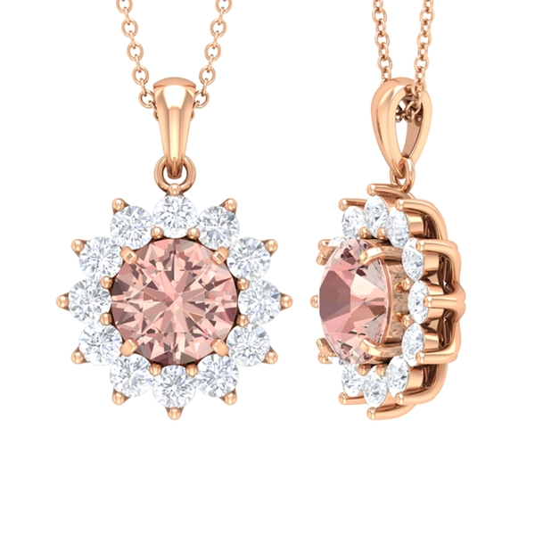 3.50 CT Morganite and Moissanite Floral Halo Pendant Necklace
