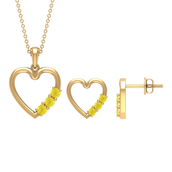 3/4 CT Simple Yellow Sapphire and Gold Heart Jewelry Set