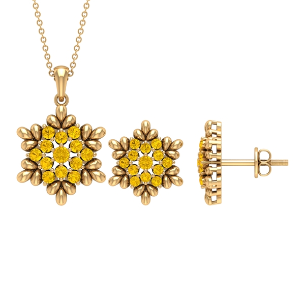 1.25 CT Yellow Sapphire and Gold Flower Jewelry Set