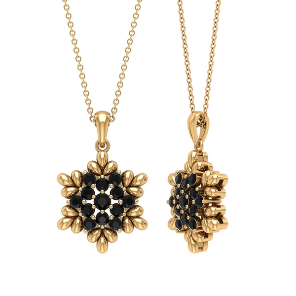 3/4 CT Black Diamond and Gold Flower Pendant Necklace