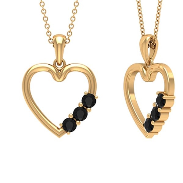 1/2 CT Simple Black Diamond and Gold Heart Pendant Necklace