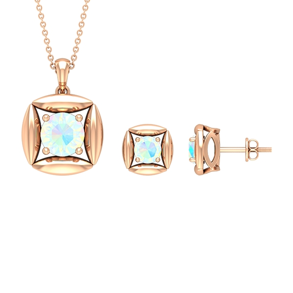 1.25 CT Minimal Ethiopian Opal and Gold Necklace and Earrings Set