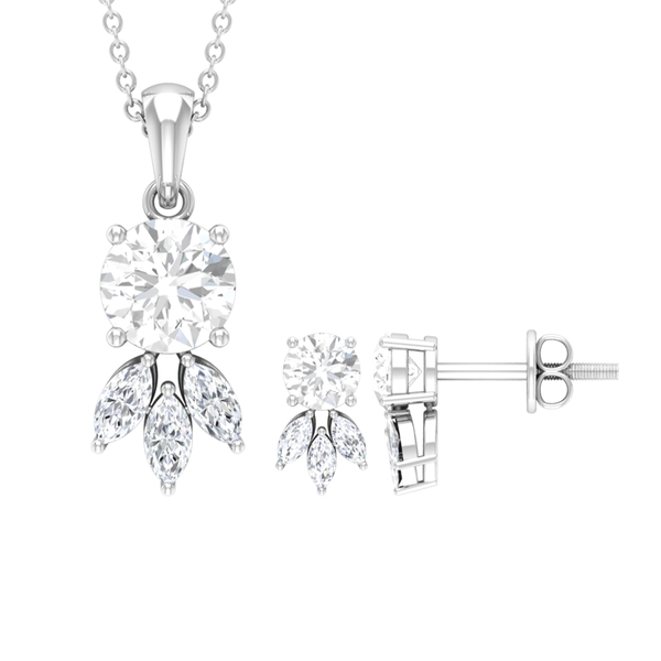 2.75 CT Marquise and Round Cut White Sapphire Dainty Jewelry Set