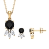 2.75 CT Dainty Solitaire Black and White Diamond Jewelry Set